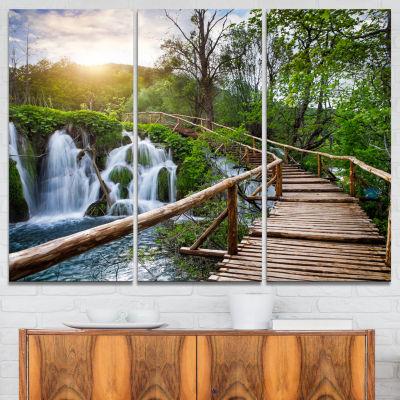 Designart Pathway In Plitvice Lakes Landscape Photography Canvas Art Print - 3 Panels