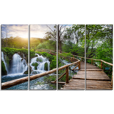 Designart Pathway In Plitvice Lakes Landscape Photography Canvas Art Print - 4 Panels