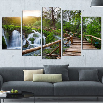 Designart Pathway In Plitvice Lakes Landscape Photography Canvas Art Print - 5 Panels