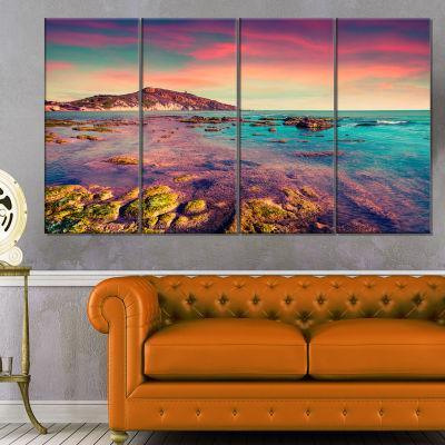Designart Giallonardo Beach Colorful Sunset Seashore Photo Canvas Print - 4 Panels