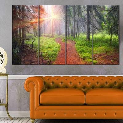 Designart Autumn Forest At Dawn Landscape Photography Canvas Art Print - 4 Panels