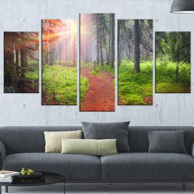Designart Autumn Forest At Dawn Landscape Photography Canvas Art Print - 5 Panels