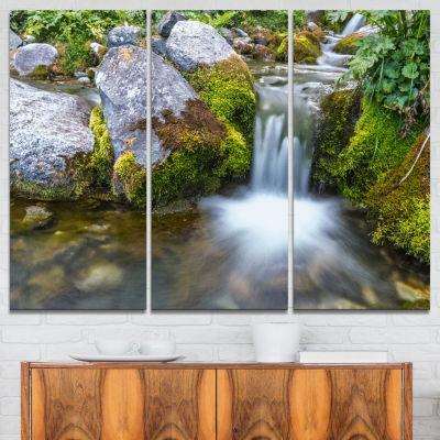 Designart Summer Water Stream Landscape Photography Canvas Art Print - 3 Panels