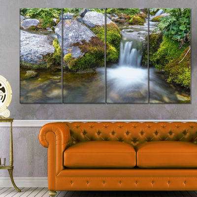 Designart Summer Water Stream Landscape Photography Canvas Art Print - 4 Panels