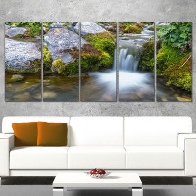 Designart Summer Water Stream Landscape Photography Canvas Art Print - 5 Panels