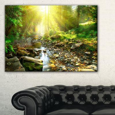 Designart Mountain Stream In Forest Landscape Photography Canvas Print