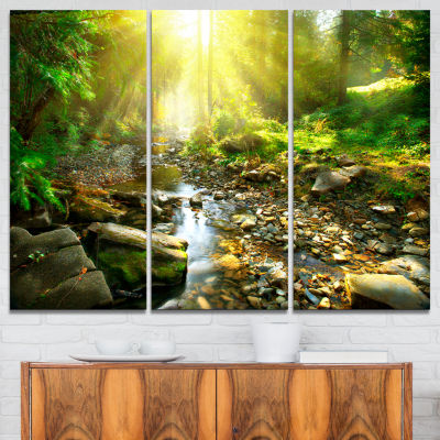 Designart Mountain Stream In Forest Landscape Photography Canvas Print - 3 Panels