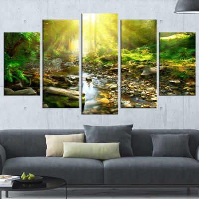 Designart Mountain Stream In Forest Landscape Photography Canvas Print   5 Panels