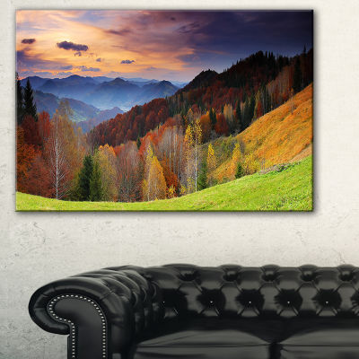 Designart Colorful Morning In Mountains LandscapePhotography Canvas Print