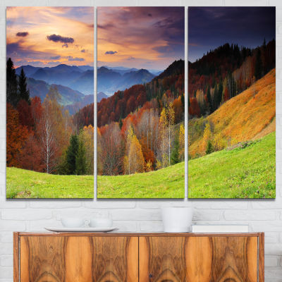 Designart Colorful Morning In Mountains Landscape Photography Canvas Print - 3 Panels