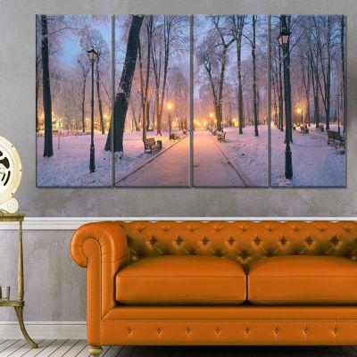 Designart Mariinsky Garden In Winter Landscape Photo Canvas Art Print - 4 Panels