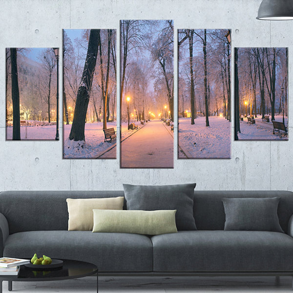 Designart Mariinsky Garden In Winter Landscape Photo Canvas Art Print - 5 Panels