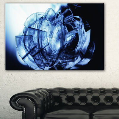 Designart Fractal 3D Blue Glass Pattern Abstract Canvas Art Print