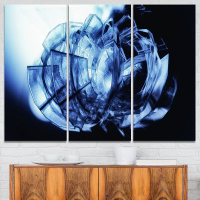 Designart Fractal 3D Blue Glass Pattern Abstract Canvas Art Print - 3 Panels
