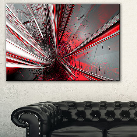 Designart Fractal 3D Deep Into Middle Abstract Canvas Art Print, One Size , Red