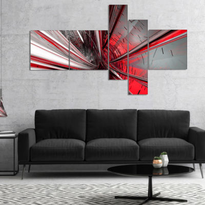 Designart Fractal 3D Deep Into Middle Abstract Canvas Art Print - 5 Panels