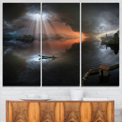 Designart High Water Photo Collage Seascape CanvasArt Print - 3 Panels