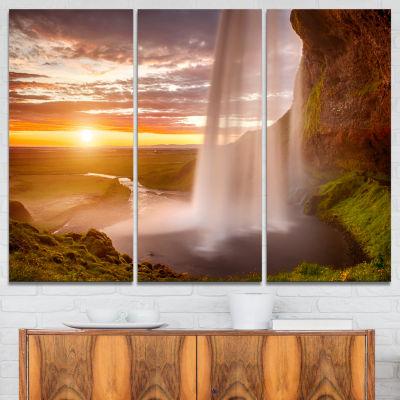 Designart Seljalandsfoss Waterfall At Sunset Landscape Photography Canvas Print - 3 Panels