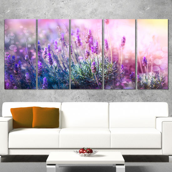 Designart Growing And Blooming Lavender Floral Canvas Art Print   5 Panels
