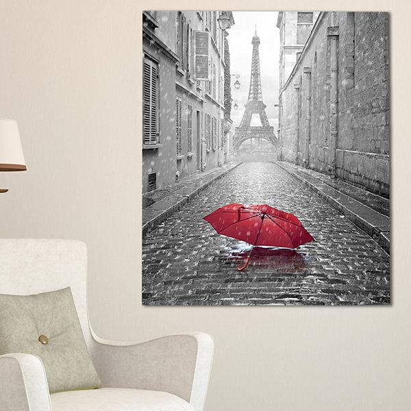 Designart eiffel view from paris street city scapephoto canvas art print
