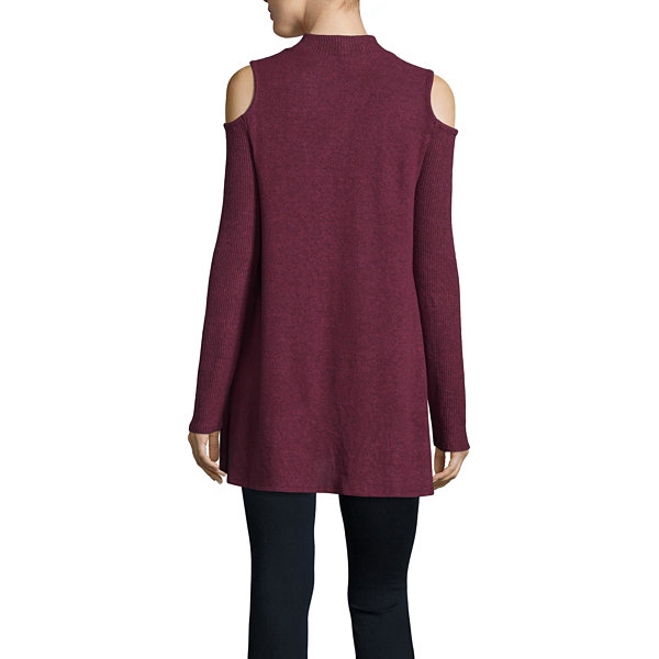 by&by Long Sleeve Mock Neck Pullover Sweater-Juniors