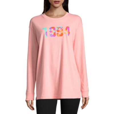 Flirtitude Long Sleeve Round Neck Graphic T-Shirt - Juniors