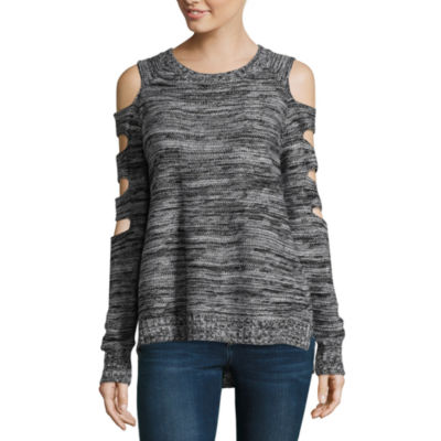 Arizona Cut Out Shoulder Sweater-Juniors