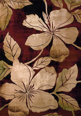 United Weavers Contours Collection Floral Canvas Rectangular Rug