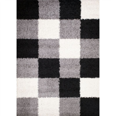 Concord Global Trading Shaggy Collection Blocks Area Rug