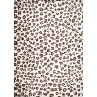 Concord Global Trading Shaggy Collection Leopard Area Rug