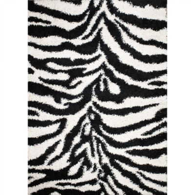Concord Global Trading Shaggy Collection Zebra Area Rug