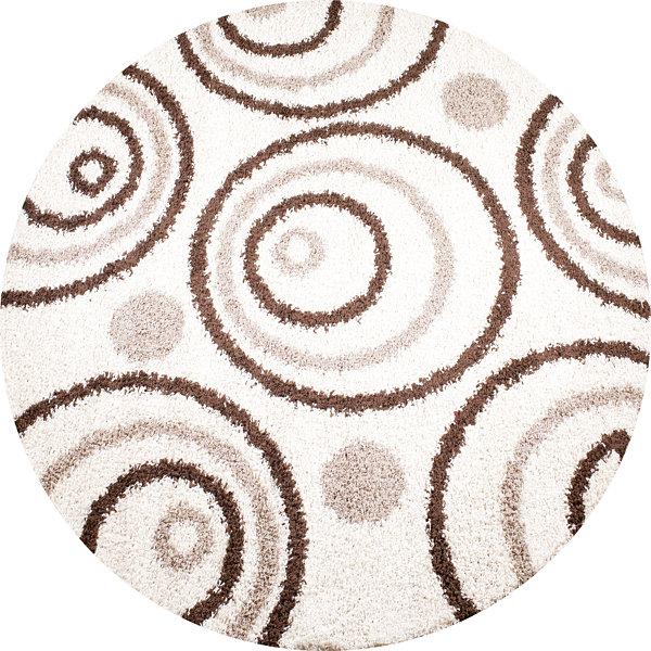 Concord Global Trading Shaggy Collection Circles Round Area Rug