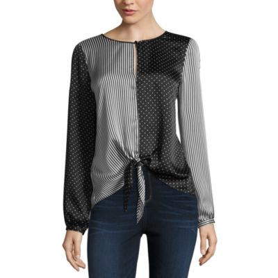 Belle + Sky Long Sleeve Knot Front Top