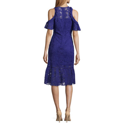 T.D.C Cold Shoulder Lace Midi Dress
