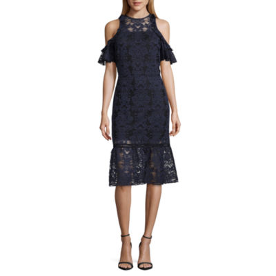T.D.CShort Sleeve Cold Shoulder Midi Dress