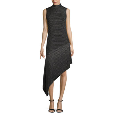 T.D.C Sleeveless Metallic Mock Neck Bodycon Dress