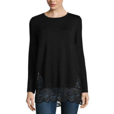 T.D.C Long Sleeve Lace Inset Tee