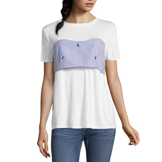 T.D.C Short Sleeve Embroidered Tie Back Top
