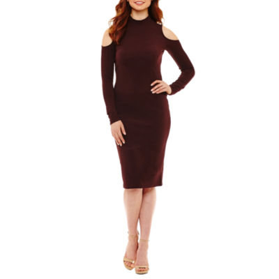 Bold Elements Long Sleeve Cold Shoulder Lace Bodycon Dress