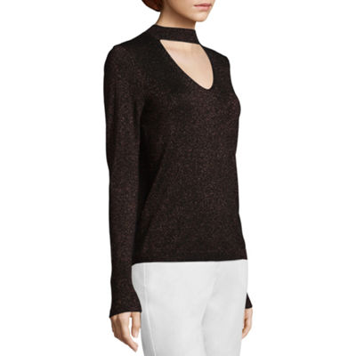 Worthington Long Sleeve Choker Neck Pullover Sweater