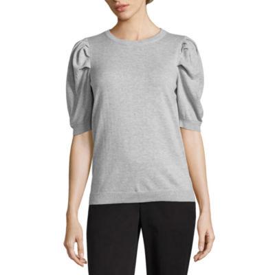 Worthington Elbow Sleeve Crew Neck Pullover Sweater