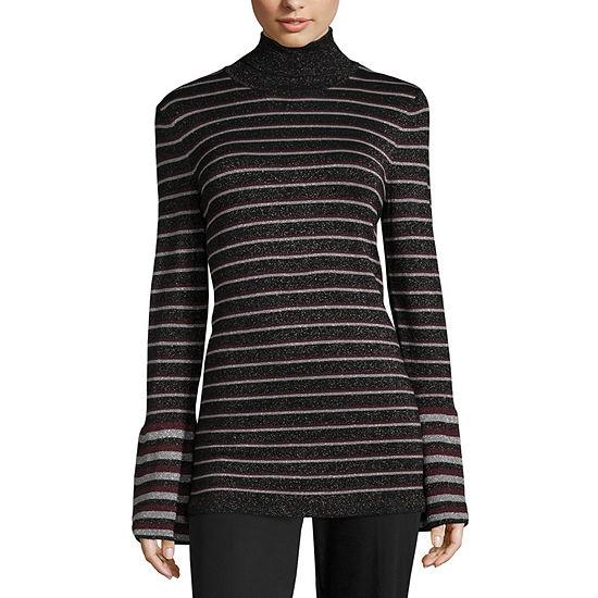 Worthington Womens Turtleneck Long Sleeve Striped Pullover Sweater
