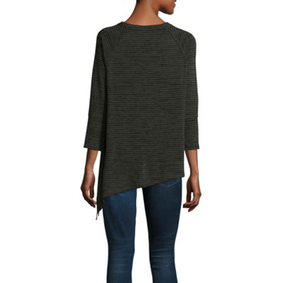 a.n.a Side Tie Knit Tee 3/4 Sleeve Crew Neck Knit Blouse