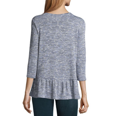St. John's Bay 3/4 Sleeve Peplum Top