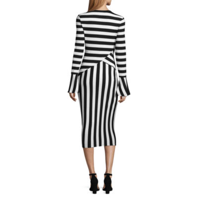 Project Runway Long Sleeve Stripe Bodycon Dress