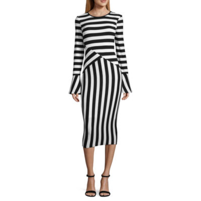 Project Runway Long Sleeve Stripe Bodycon Dress