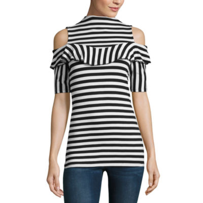 Project Runway Short Sleeve Striped Cold Shoulder Ruffle Top-Womens