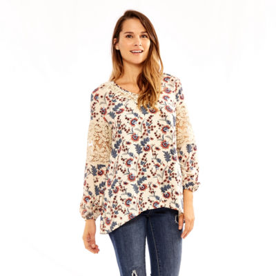 Skyes The Limit Himalaya Long Sleeve Crew Neck Woven Blouse-Plus