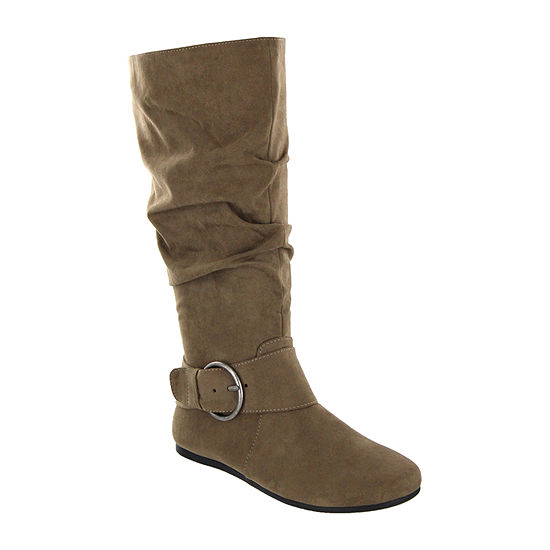 Mia Amore Womens Shoes Slouch Flat Heel Pull-on Dress Boots