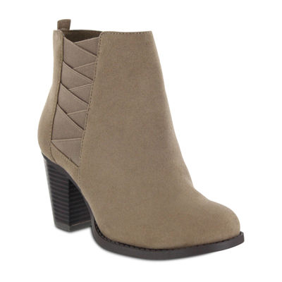 Mia Amore Womens Stacked Heel Zip Booties